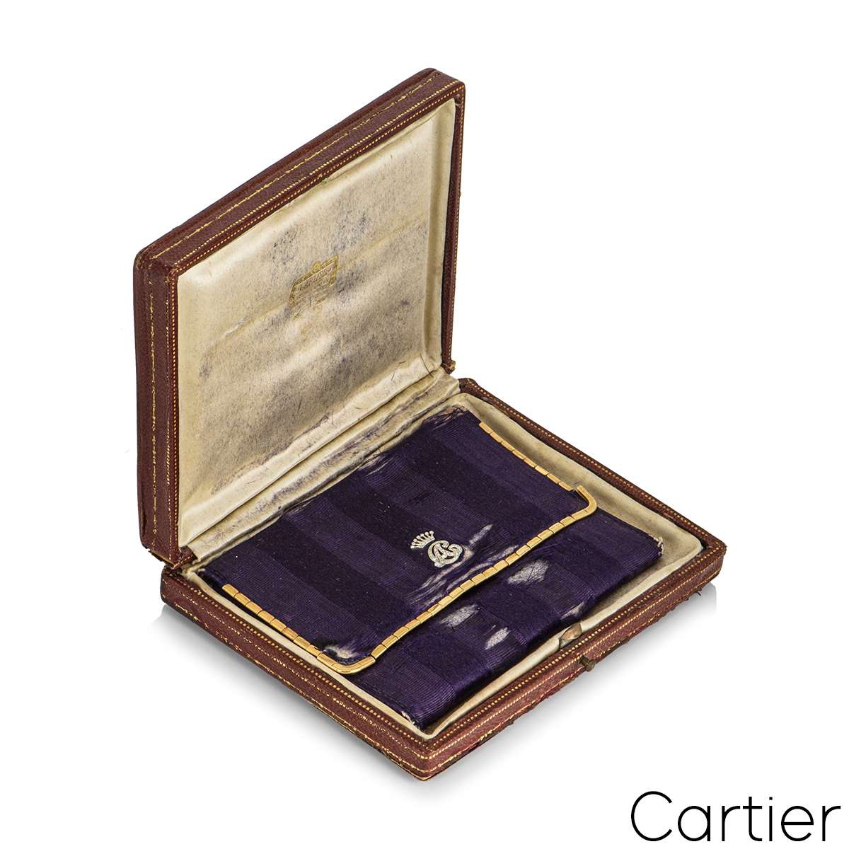 Cartier Vintage Silk Purse With Yellow Gold And Diamond